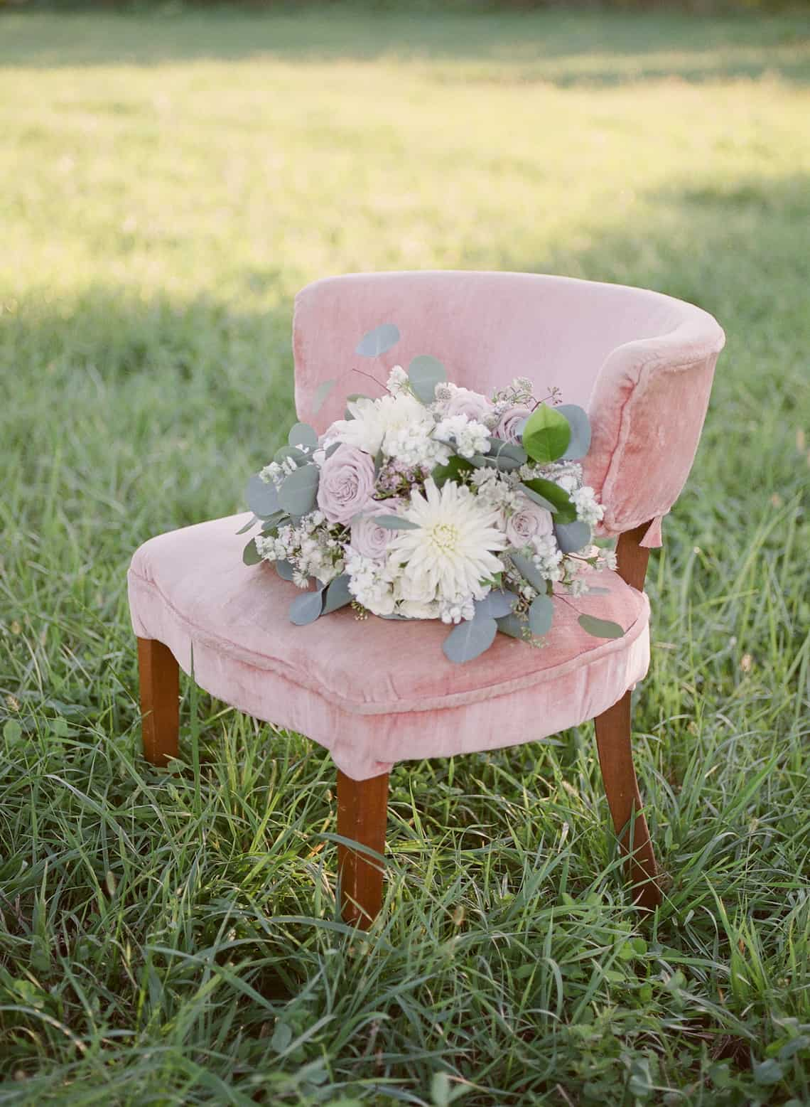 Soft Toned Bride Bouquet in Chair