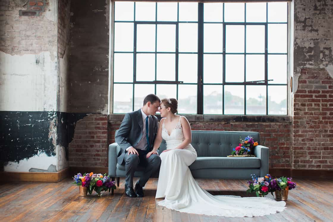 Bride and Groom Photography on Couch in Kansas City