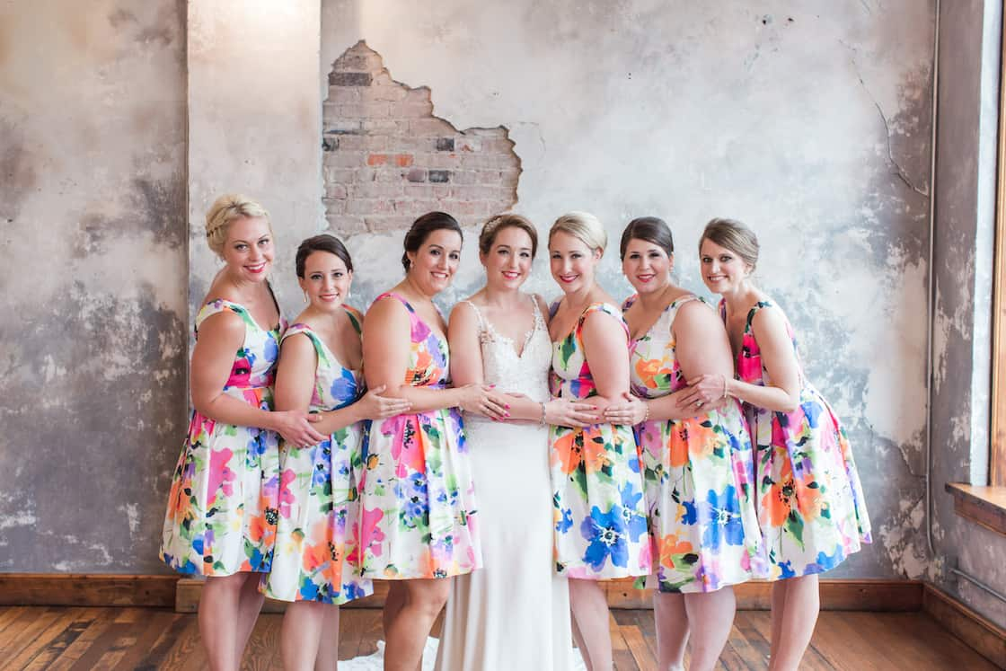 Bright Flowers on Tea Length Bridesmaid Dresses