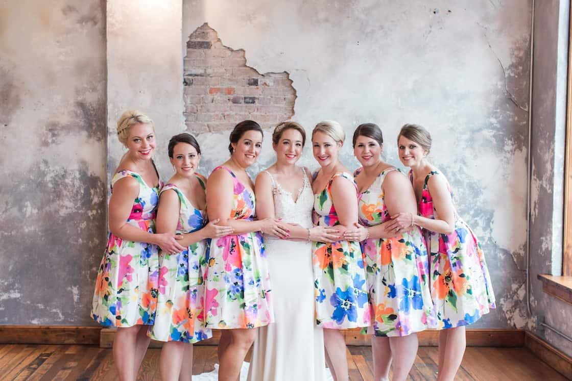 Bright Flowers on Tea Length Bridesmaid Dresses
