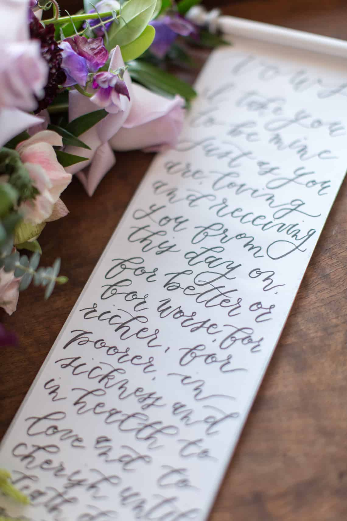 Hand Lettering Wedding Vows