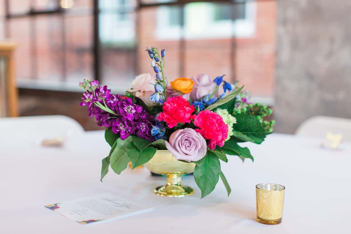 Colorful Centerpiece at Wedding Reception