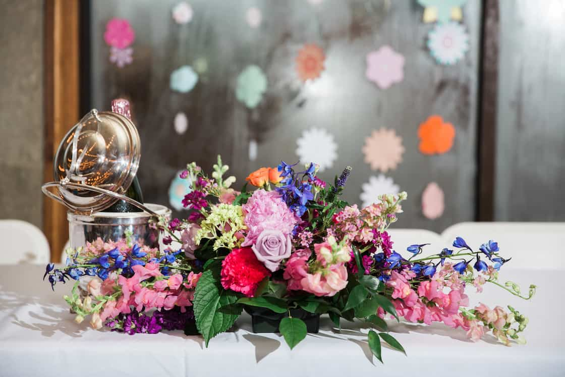Colorful Wedding Floral Arrangement on Head Table