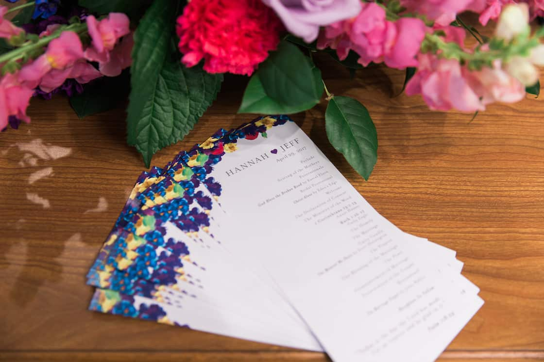 Colorful Yet Simple Wedding Ceremony Programs