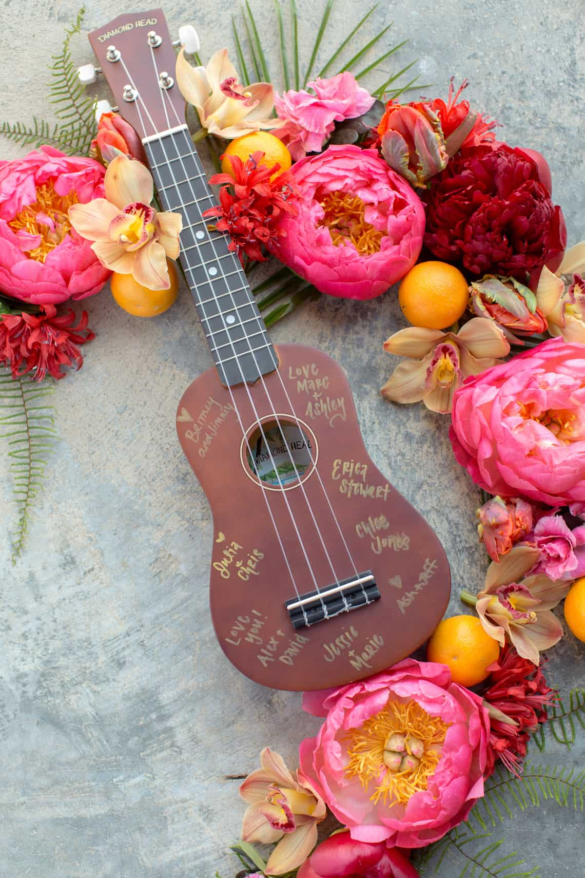 Guitar Guest Book with Tropical Flowers