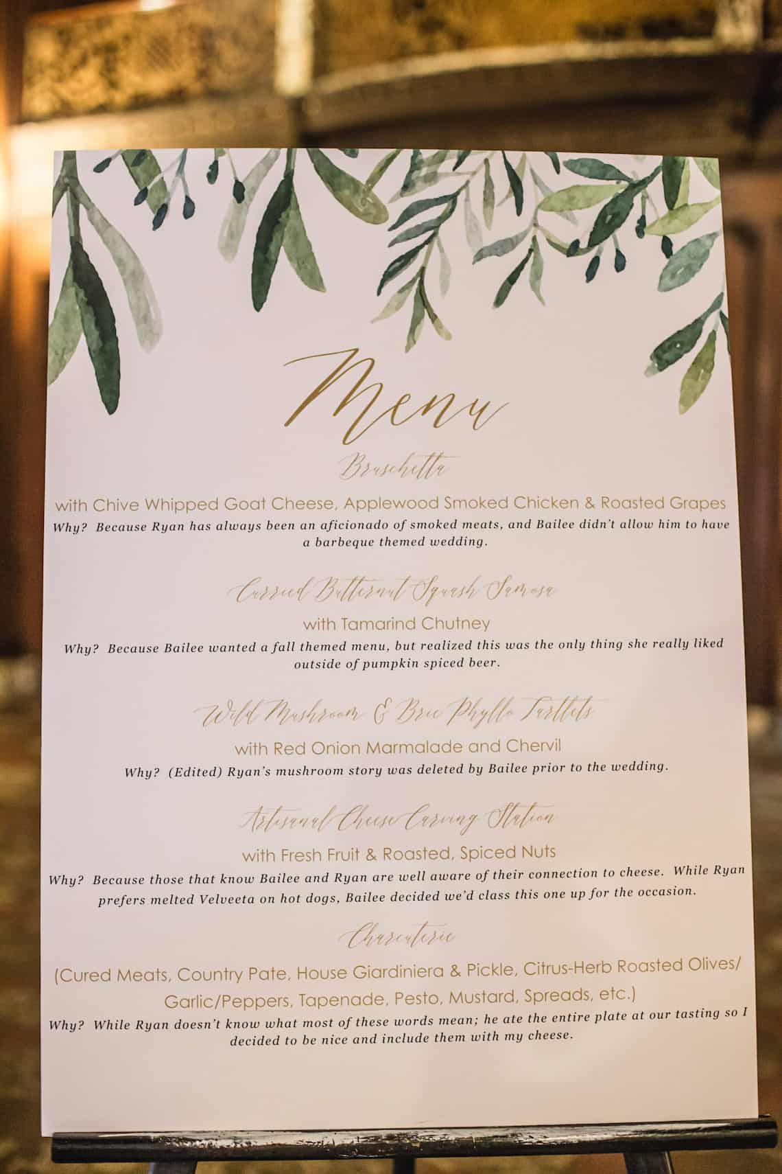 Customized Menu for Wedding Buffett