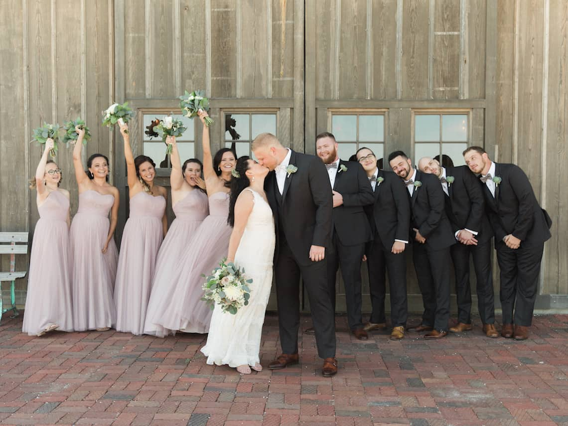Rustic Blush and Black Wedding Party