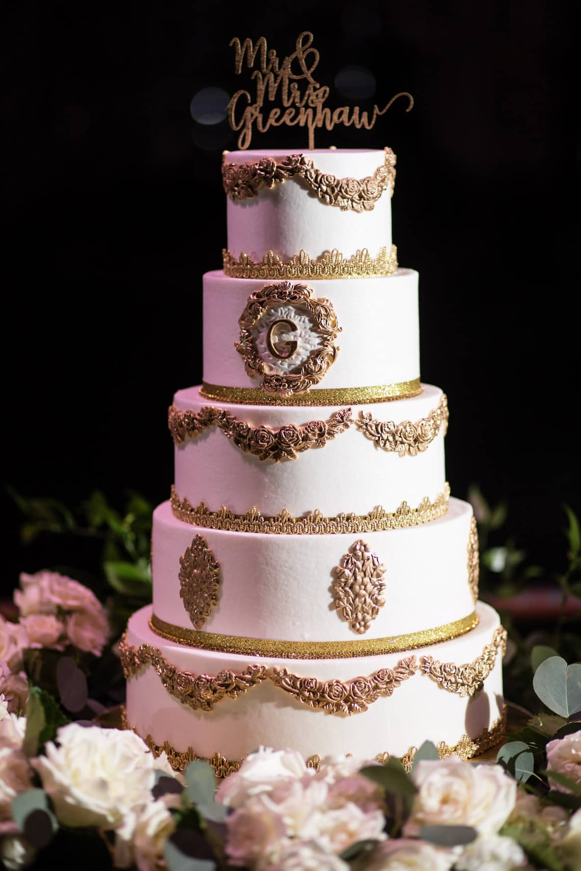Gold and White Monogrammed Wedding Cake