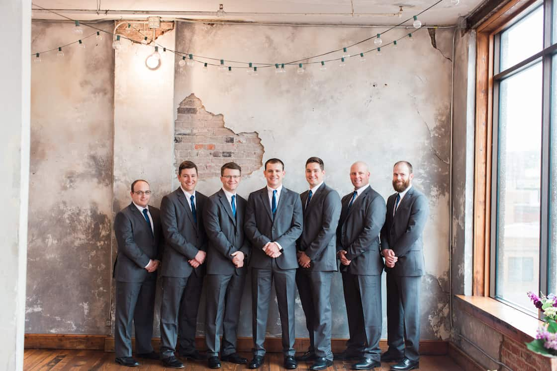 Grey Suits and Blue Ties on Groom and Groomsmen