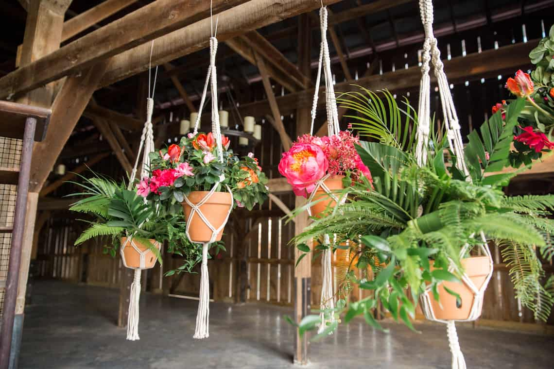Hanging Teracotta Planters with Tropical Flowers