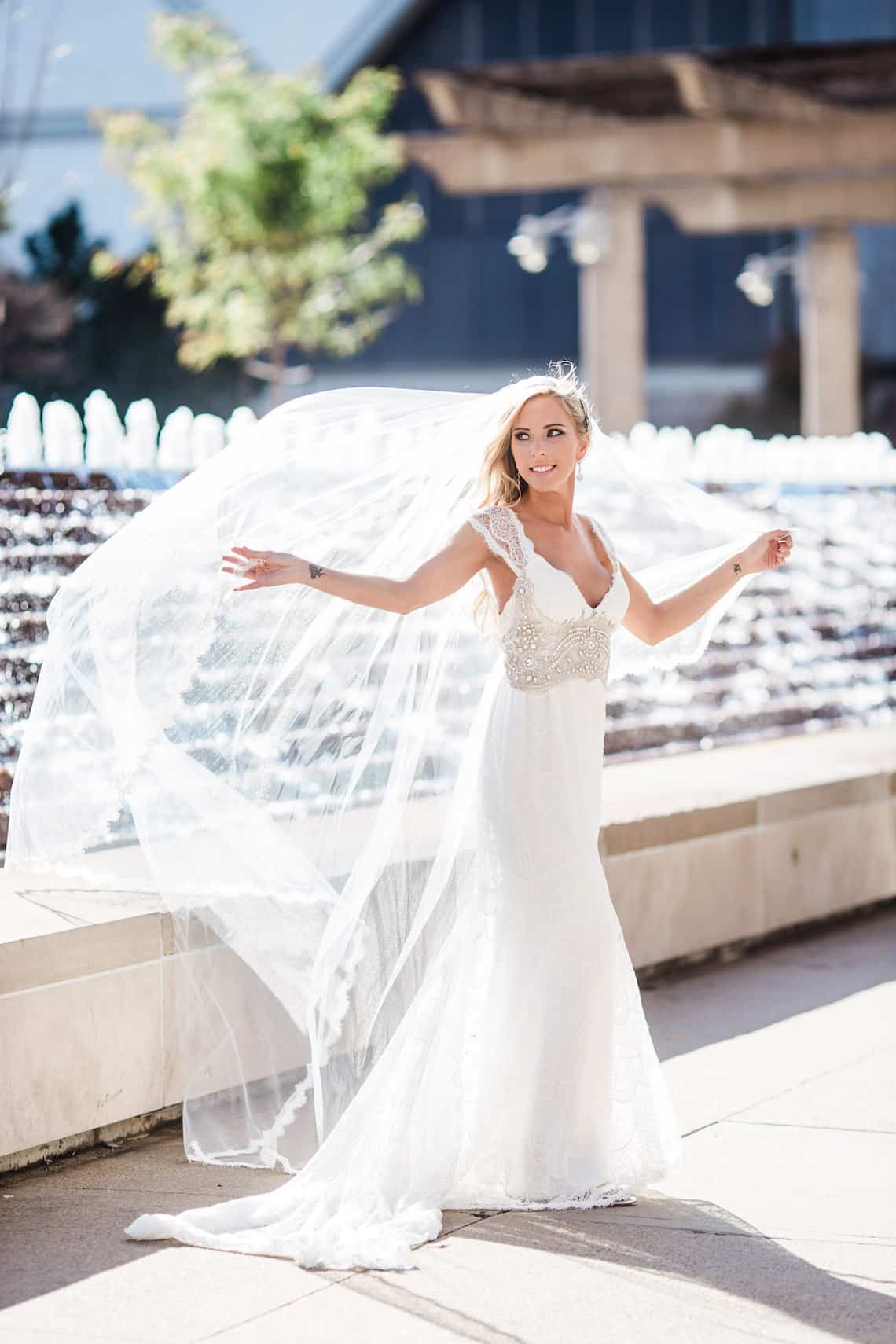 Kansas City Bride with Fountains