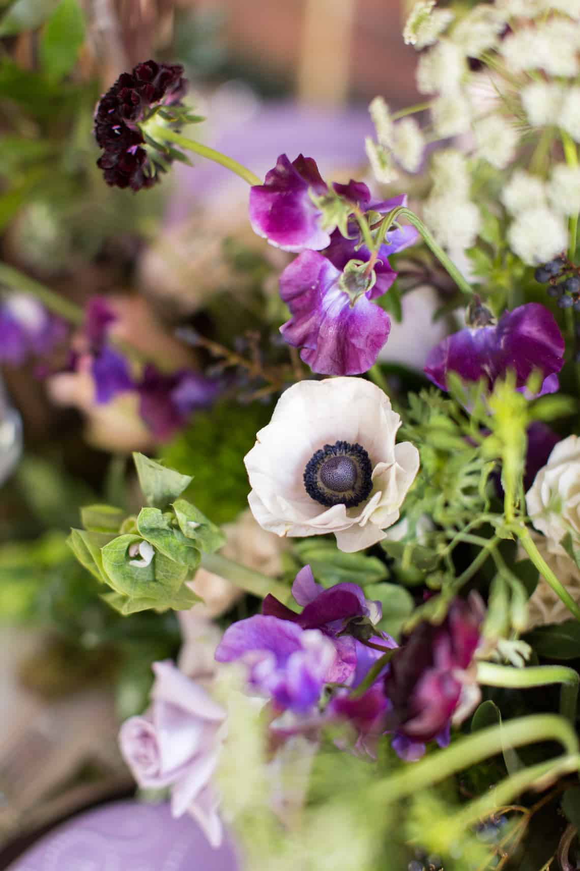 Various Purple Flowers and Greenery Wedding Flowers