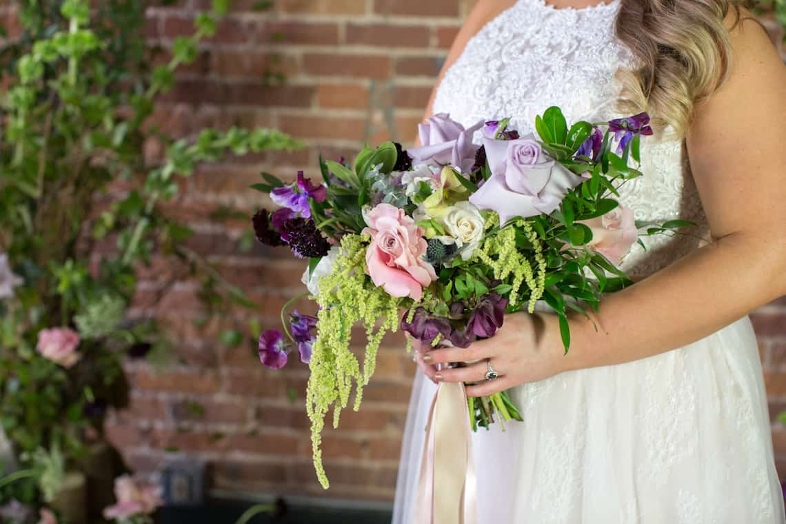 Purple Pink and Greenery Wedding Bouquet