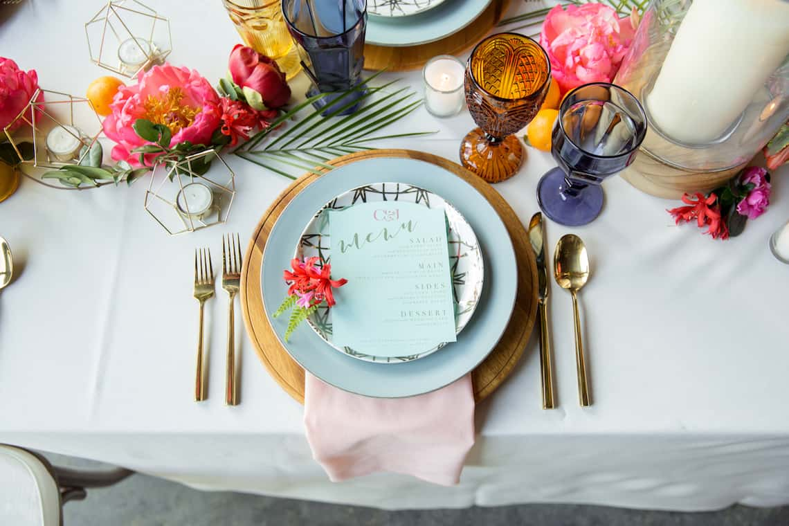 Colorful Wedding Reception Place Setting
