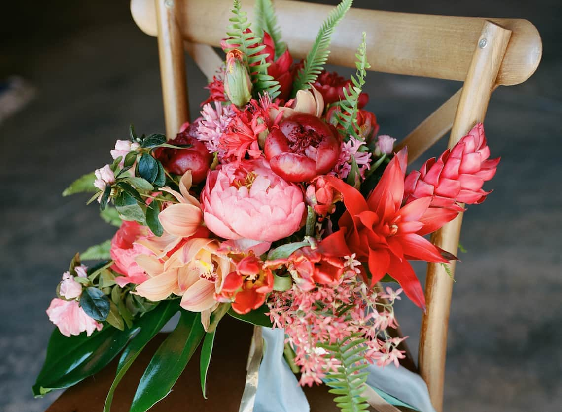 Pink, Red, and Orange Tropical Bridal Bouquet