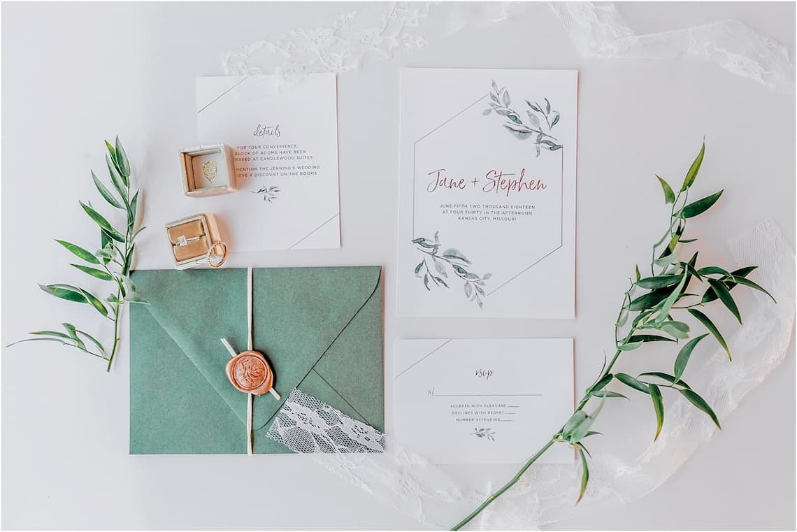 Greenery and White Wedding Invitation Suite