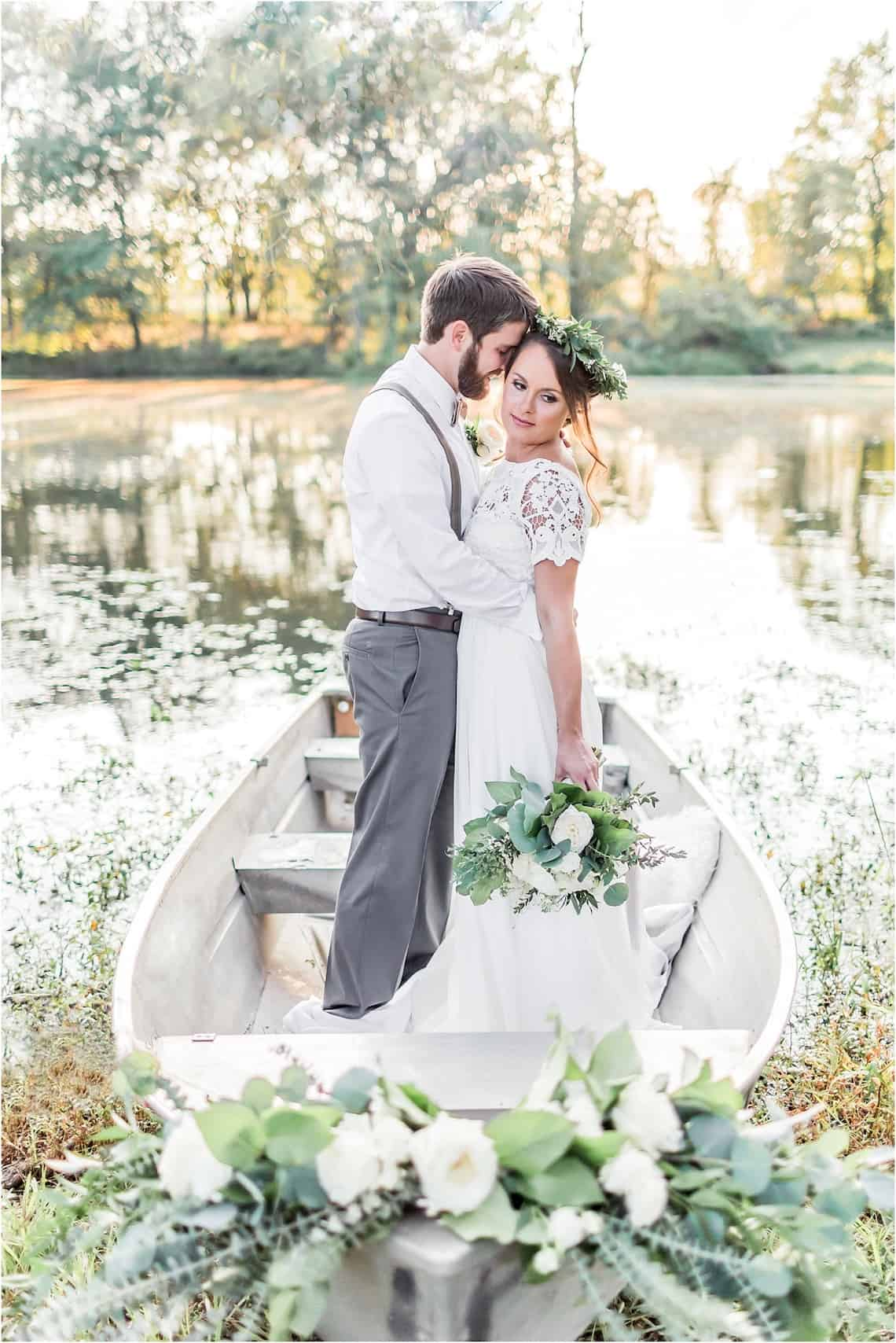 Wedding Photos in a Boat on a Lake