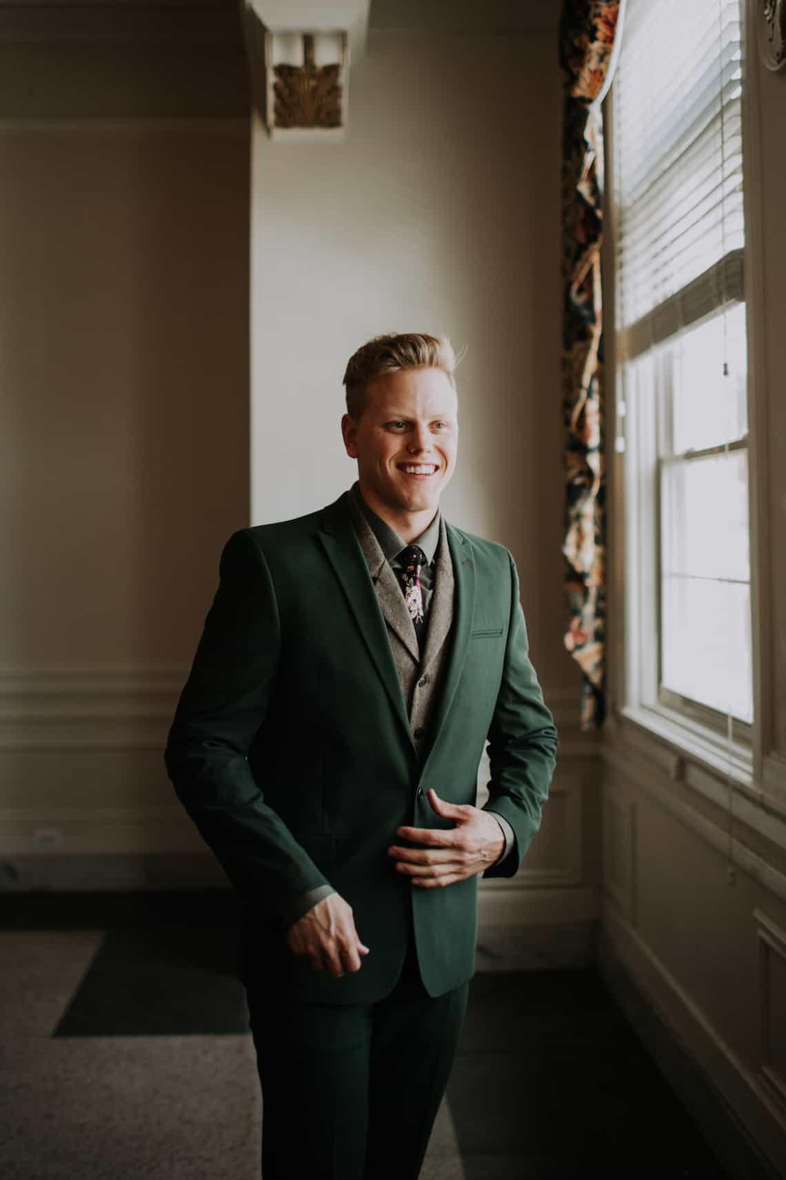 Groom in Emerald Green Suit