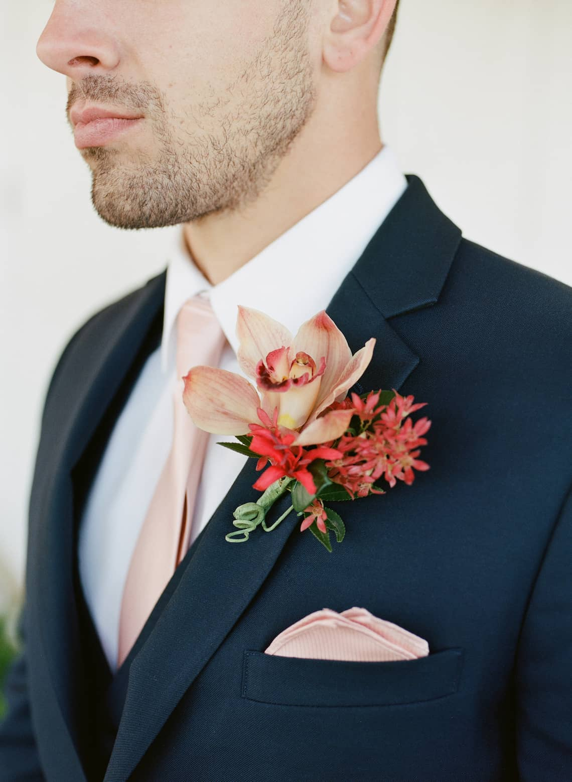 Navy Suit with Tropical Boutonniere