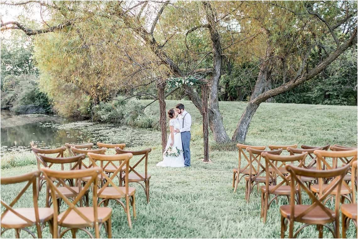 Wedding Under Birch Arch and Large Tree