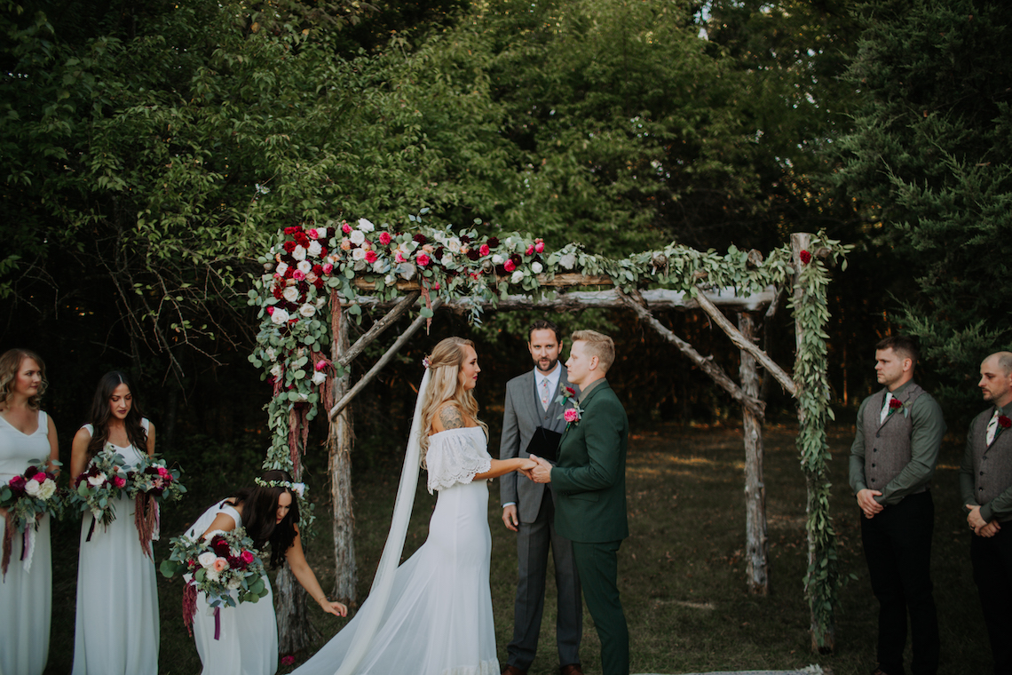Flower Adorned Wood Arch