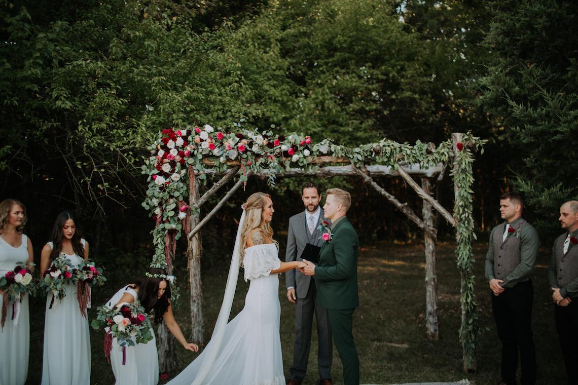 Flower Adorned Wood Arch