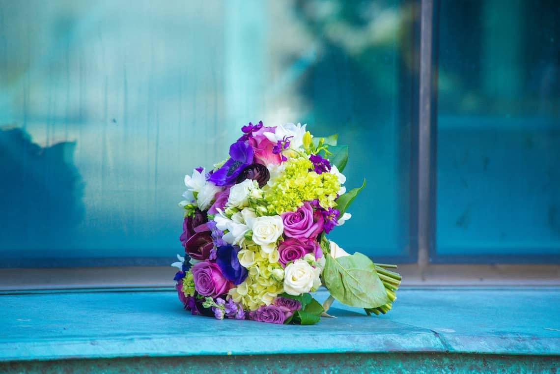 Purple White and Green Bride Bouquet