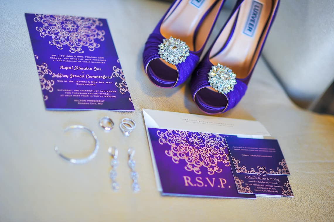Purple and Gold Wedding Invitations with Brides Shoes