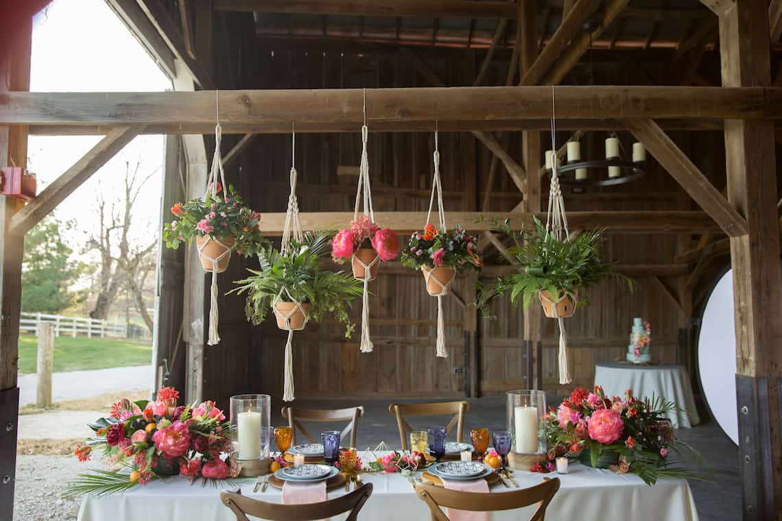 Tropical Inspired Wedding Farm Table