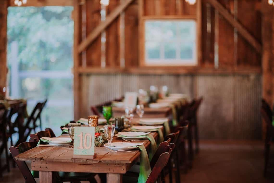 Wedding Farm Tables in Barn