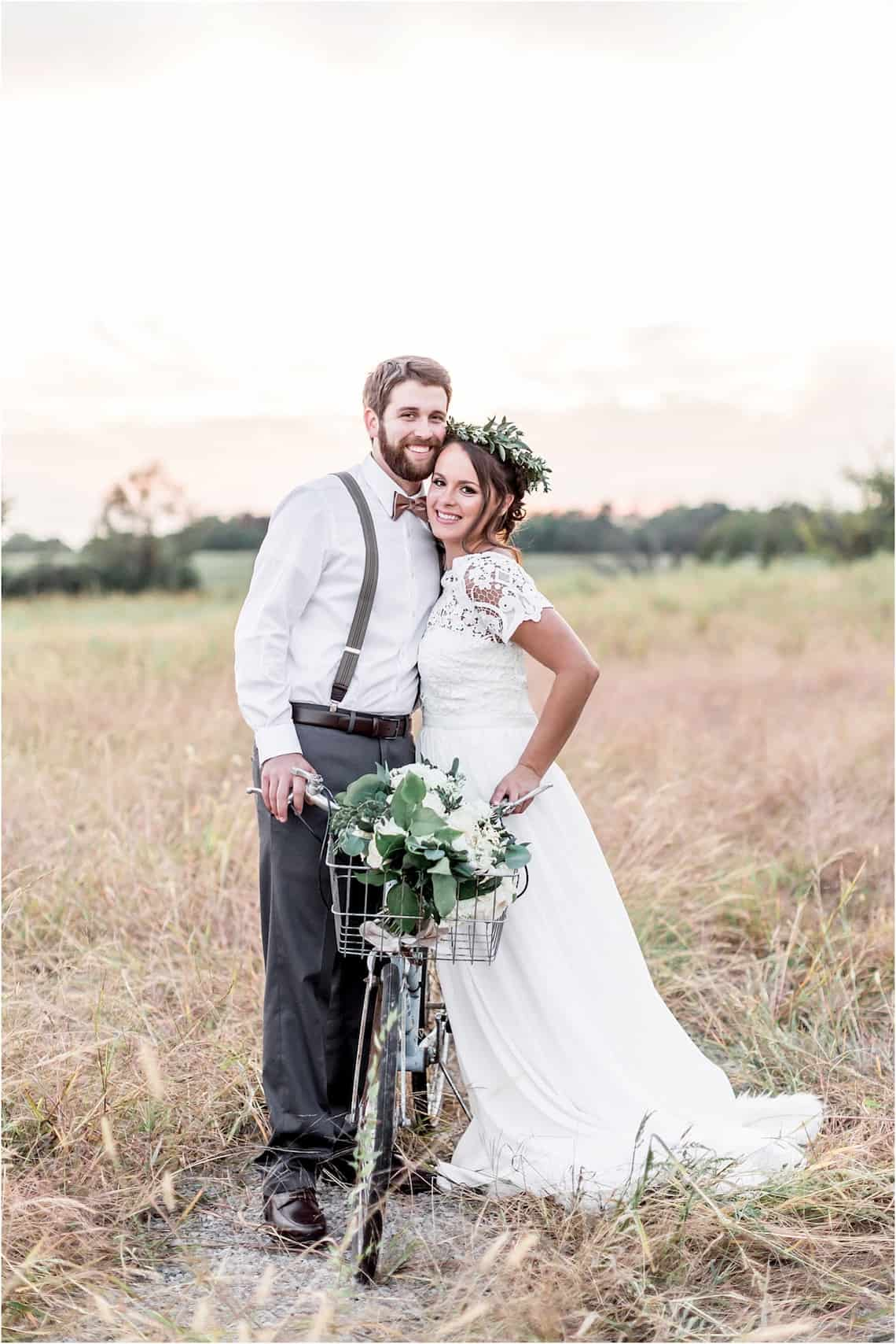 Bride and Groom with Bicycle