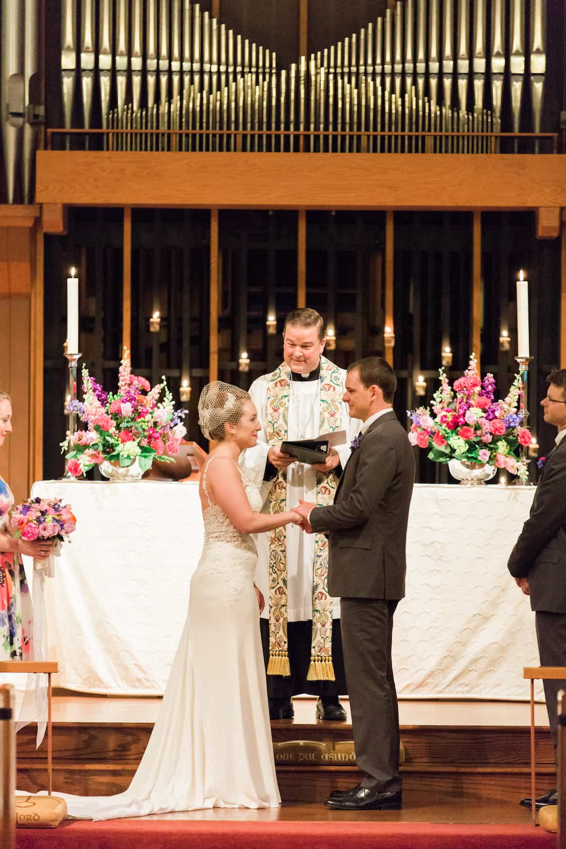 Wedding Ceremony at Church with Tall Organ Pipes