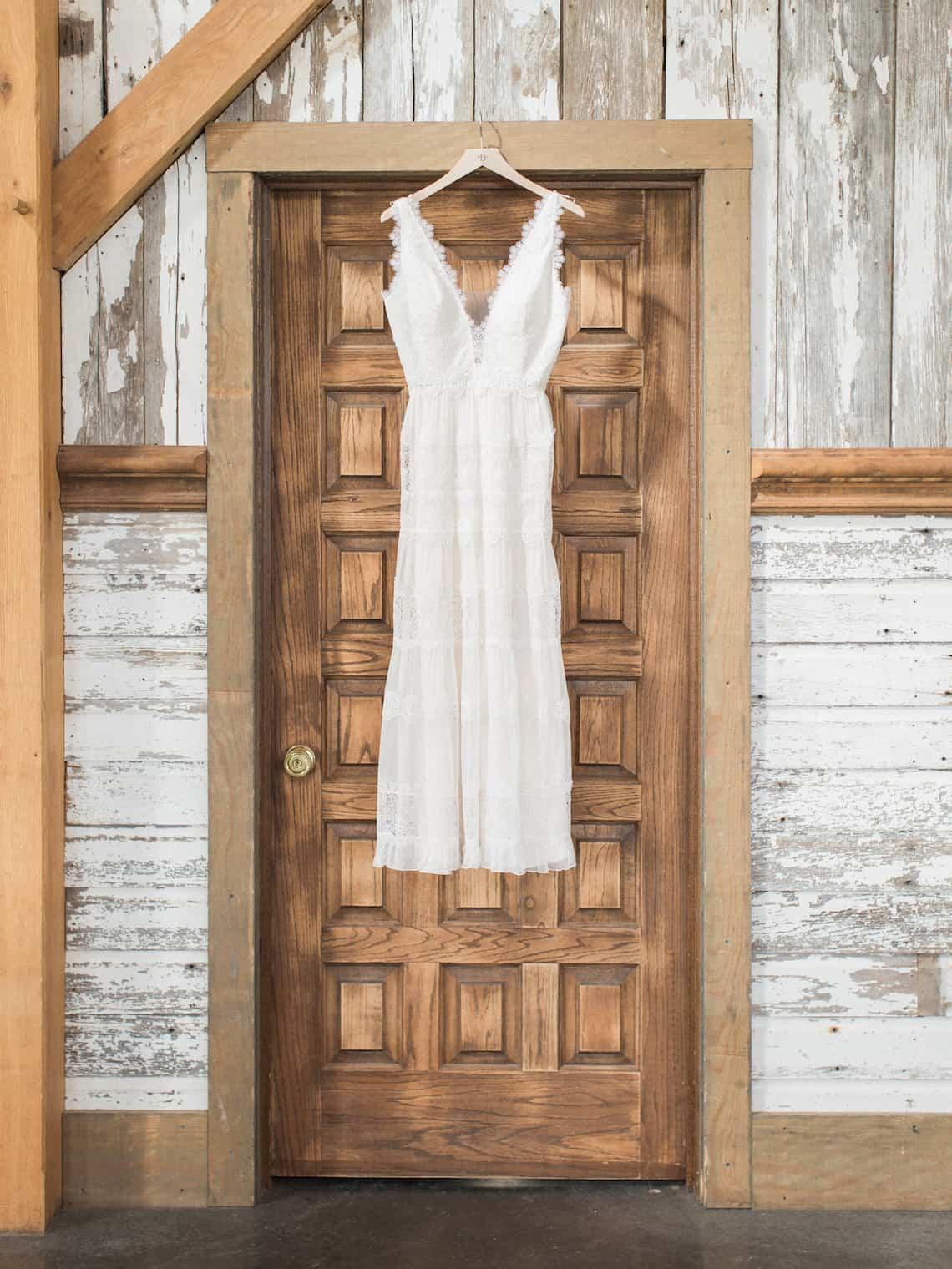 Wedding Dress Hanging in Door