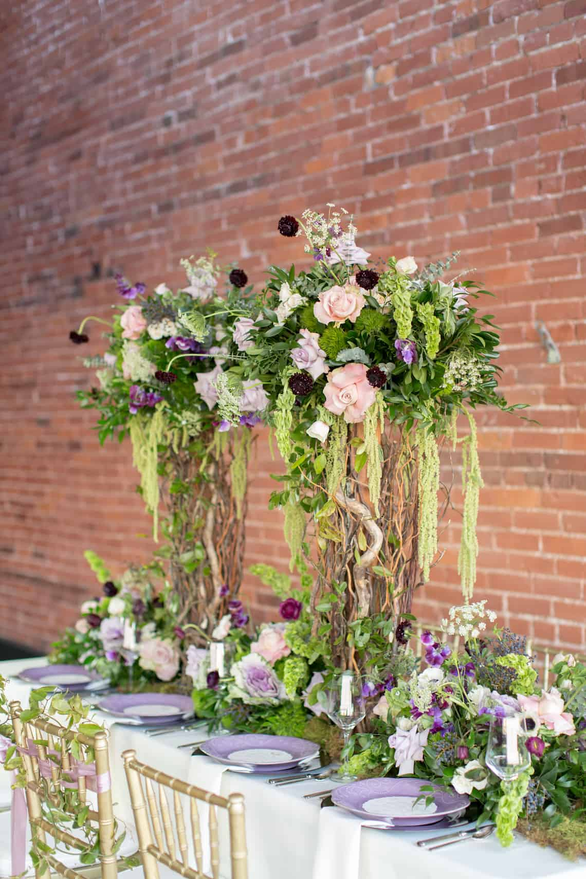Tall Garden Inspired Wedding Farm Table