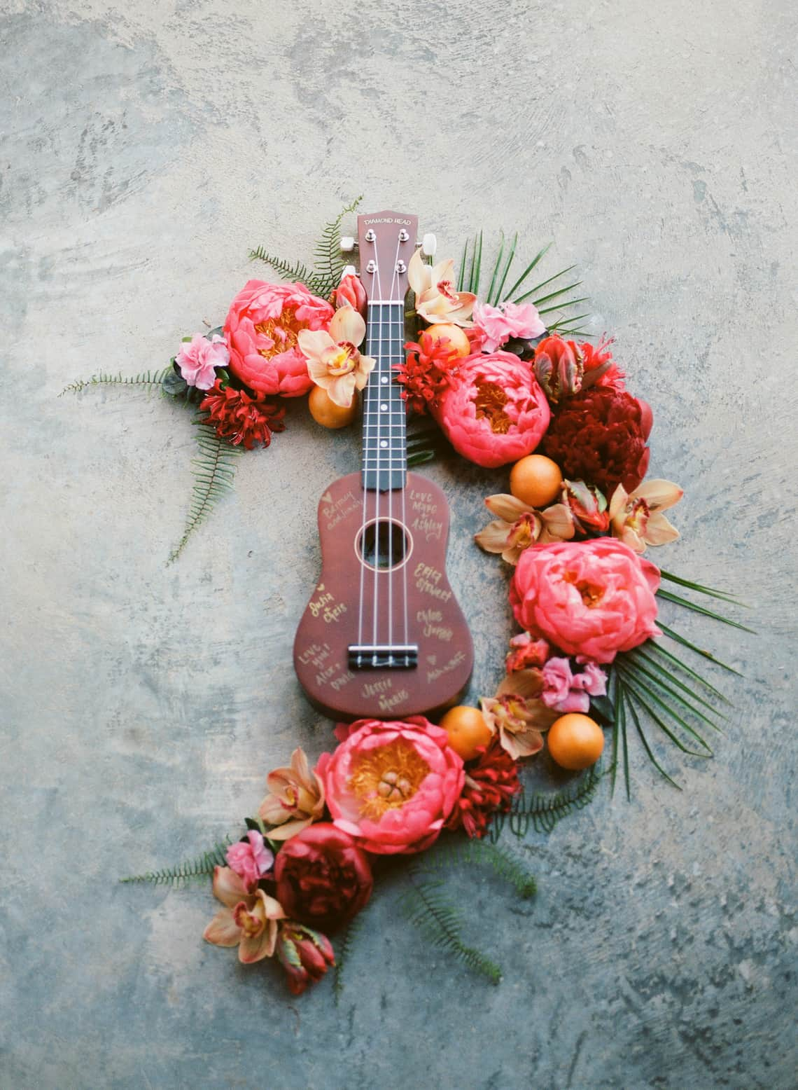 Guitar Guest Book with Flowers
