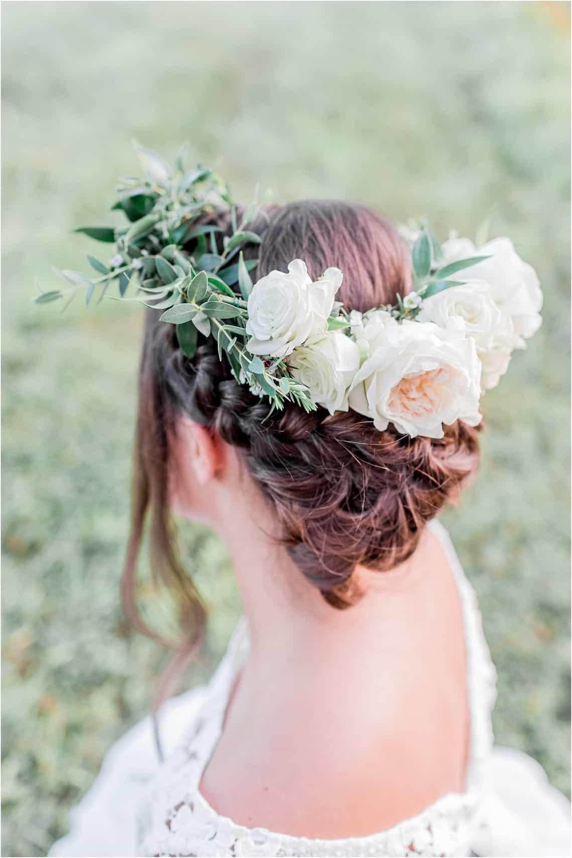 White Flower Crown on Bride
