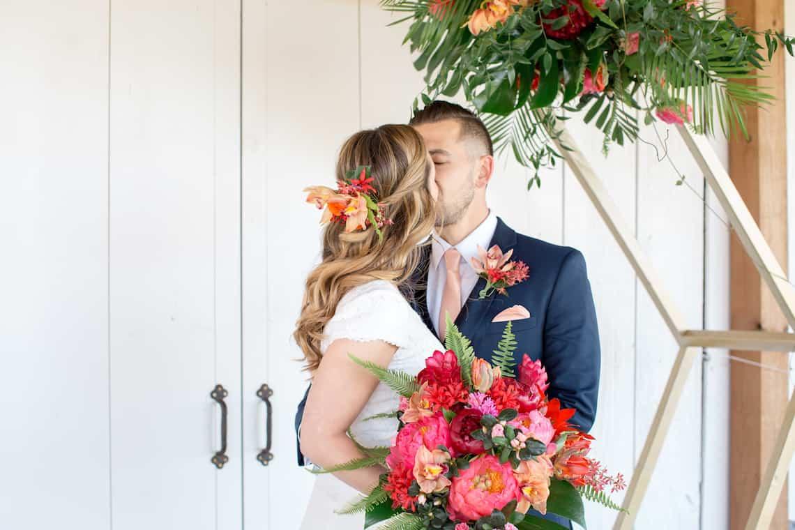 Tropical Flowers in Bride's Hair