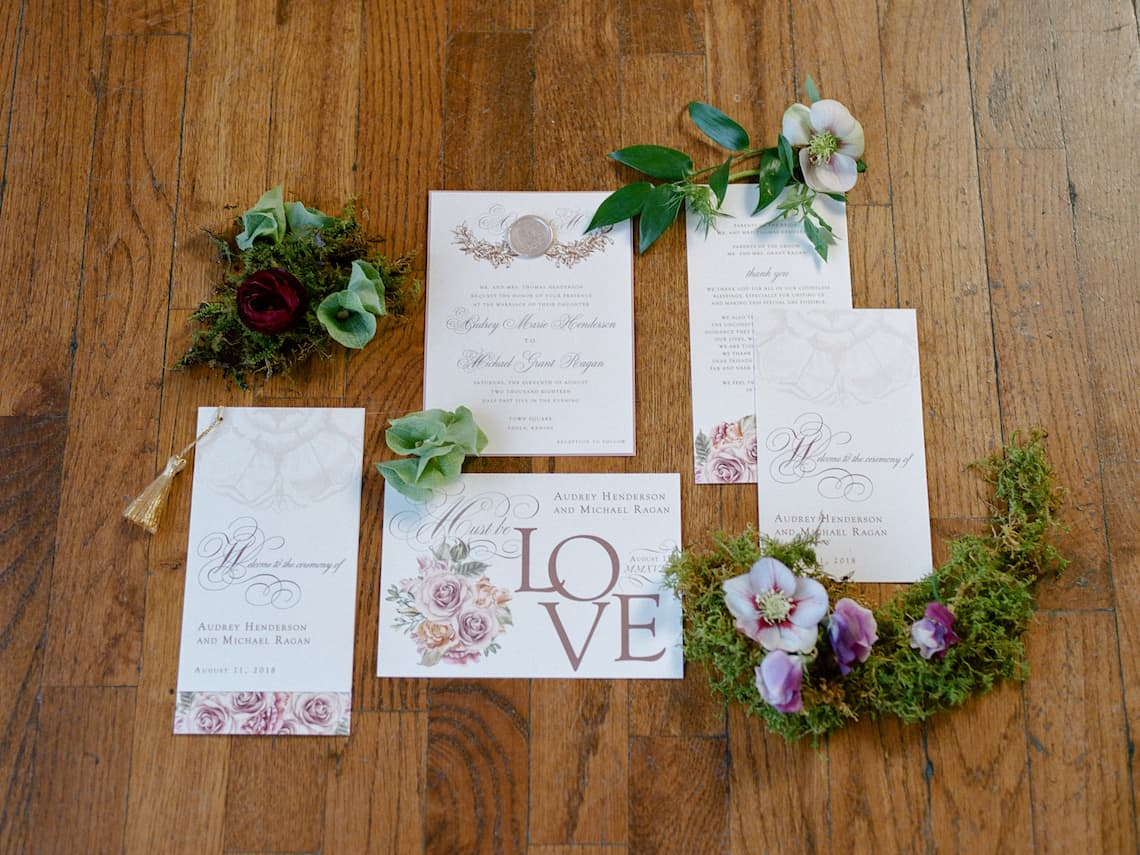 Vintage Flower Wedding Invitation Suite
