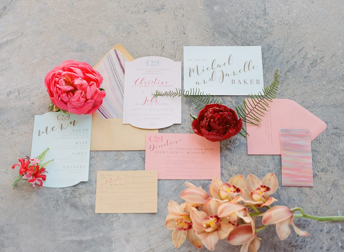 Pastel Wedding Invitation Suite with Flowers
