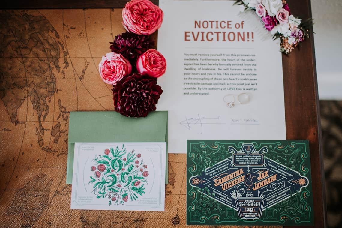Custom Designed Wedding Invitations with Flowers