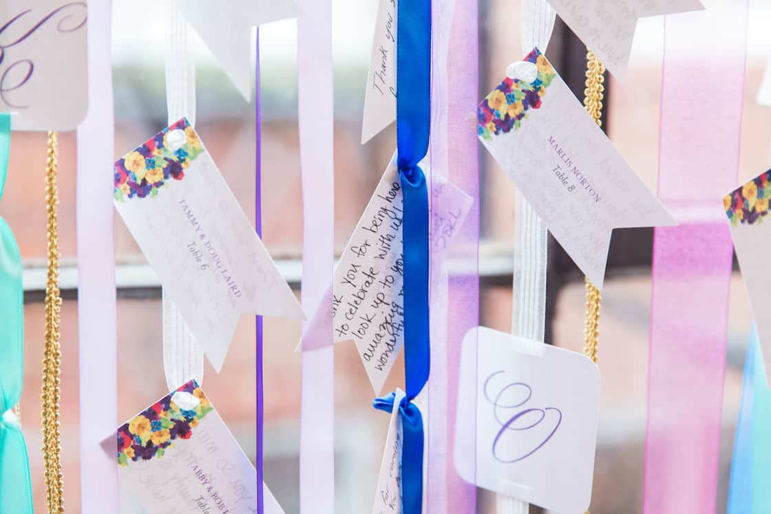 Wedding Place Cards Hanging on Ribbon
