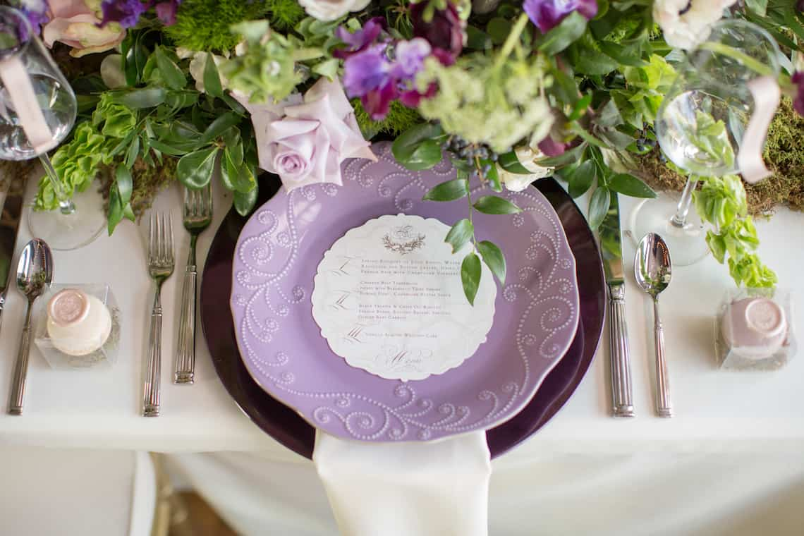 Purple Wedding Plates with Custom Menu
