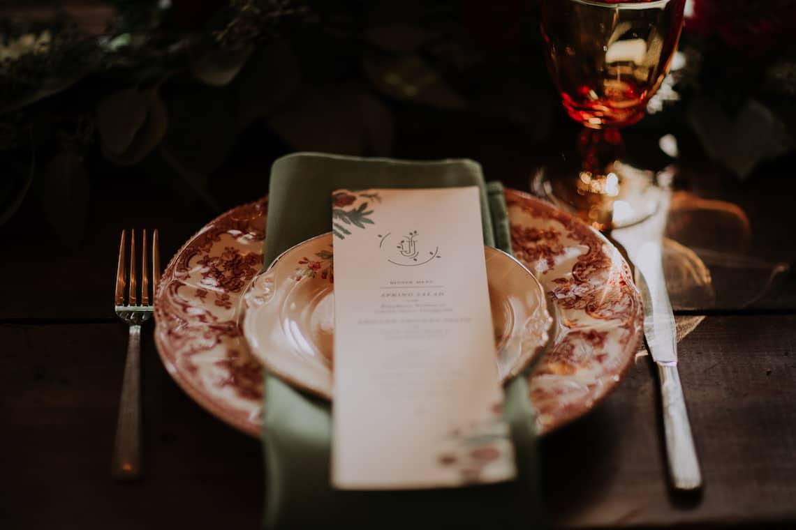 Wedding Vintage Plates and Menu Card