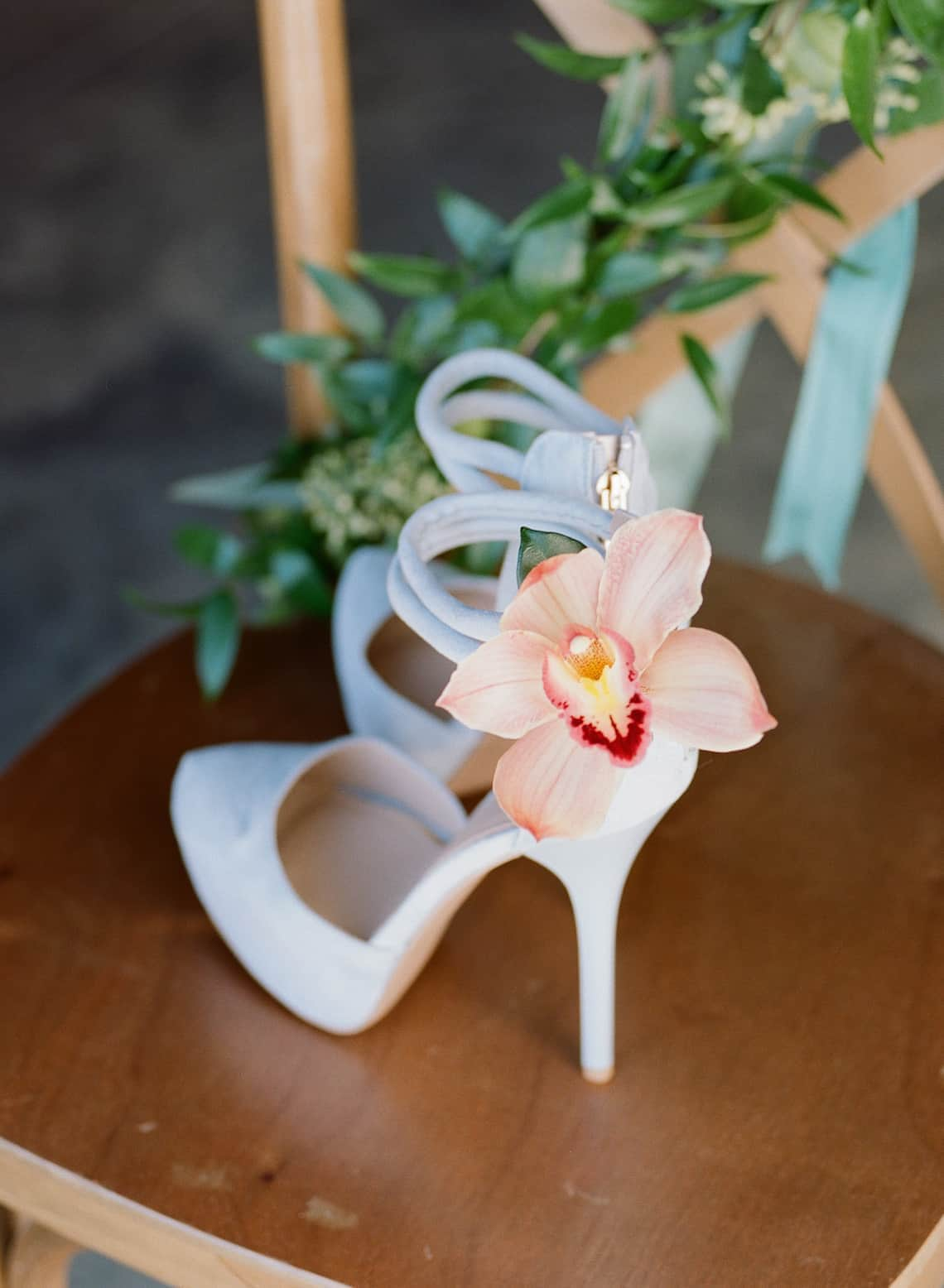 Light Blue Heels with Flower on Ankle Flower