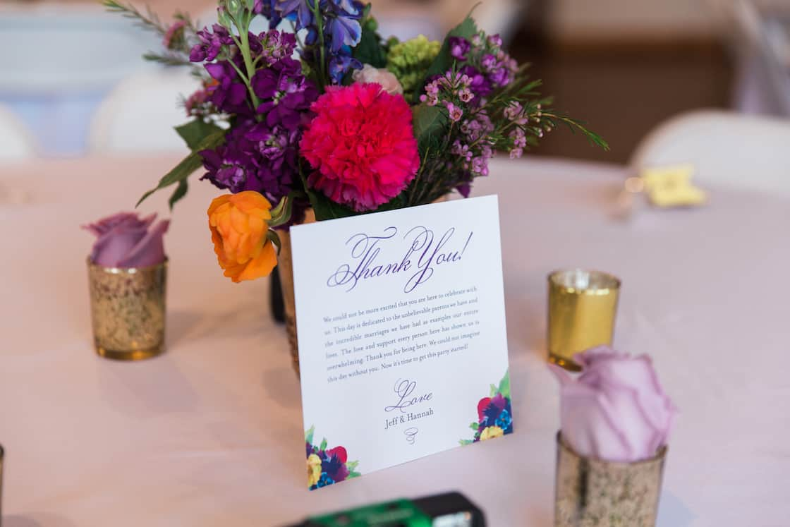Wedding Thank You Card to Guests on Reception Table