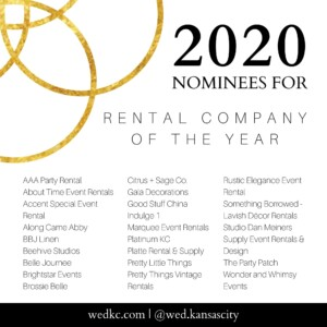 Wed KC Wedding Vendor Choice Awards 2020 Nominees for Rental Company of the Year