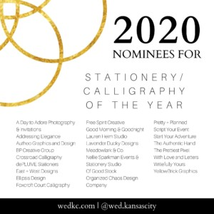 Wed KC Wedding Vendor Choice Awards 2020 Nominees for Stationery/Calligraphy of the Year