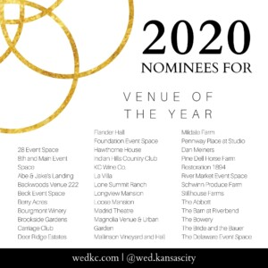Wed KC Wedding Vendor Choice Awards 2020 Nominees for Venue of the Year