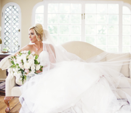 Bronzed and Blushed Bridal Beauty Wedding Kansas City couch