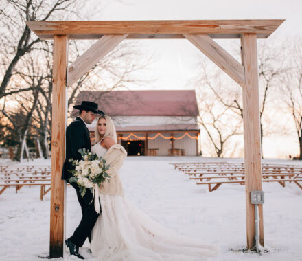Tobacco Barn Farm Kansas City Wedding Venue snow